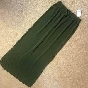 Long Olive Skirt
